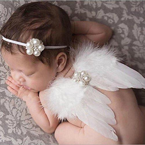 Baby Cute Feder Engel Fee Flügel Fotografie Kostüm Prop Foto Prop mit Elastic Perle Strass Blume Haarband Set für Mädchen Weiß (Engel-outfits Für Mädchen)