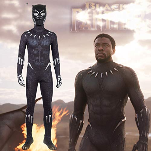 Cosplay Marvel Black Panther Upgrade COS Kleidung Anzug Siamesische Strumpfhose Cosplay Kostüm Jumpsuit (with Shoe Cover Gloves)-L