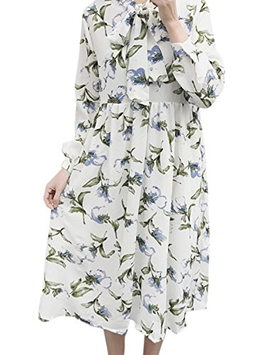 Azbro Women's Tie Collar Long Sleeve Floral Printed Dress white