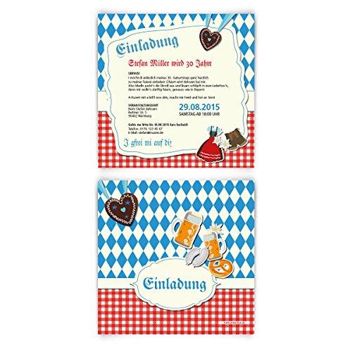 Einladungskarten zum Geburtstag (40 Stück) bayrisch Oktoberfest Einladung Bayern Karten