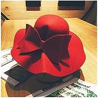 LQ-LIMAO Sombrero de Copa, - Sombrero De Lana, Sombrero De Fieltro De Cúpula, Sombrero De Lazo Grande De Lado Ancho 56-58 Cm (Color : Rojo, tamaño : 56-58CM)