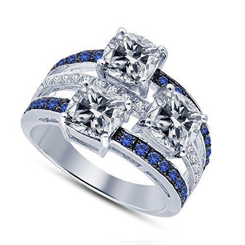 Vorra Fashion  -  925 Sterling-Silber  Sterling-Silber 925     Saphir de synthèse Oxyde de Zirconium