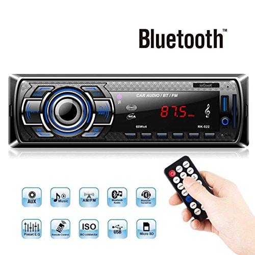 ieGeek Autoradio MP3, USB/Receiver mit Bluetooth Audio Empfänger/MP3-Player/UKW Radio von Samsung/Huawei/iPhone Control, USB/SD/Aux Freisprechfunktion und integriertes Mikrofon Standard Einba