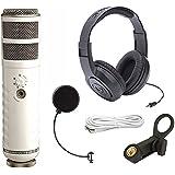 Rode Podcaster USB Dynamic Mic w/ Headphones & Windpop Universal Mic Pop Filter