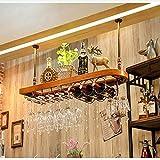 Europäische Massivholz Weinregal, kreative Weinregal, Rotweinglas, Becher, Glas, Upside Down-Weinglas Rack,Yellow