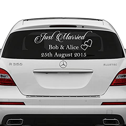 (30x15 cm) Just Married Custom Personalized Vinyl Decal / Write Your Names & Date Sticker / Wedding Day Car Back Window Mirror + Free Random Decal Gift