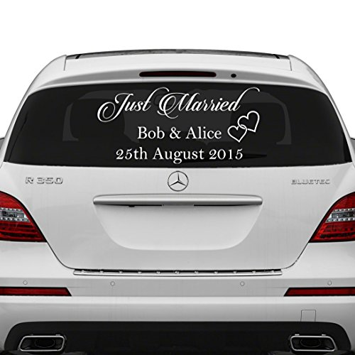 70x35 cm just married custom personalized vinyl decal write your names date sticker wedding day car back window mirror free random decal gift
