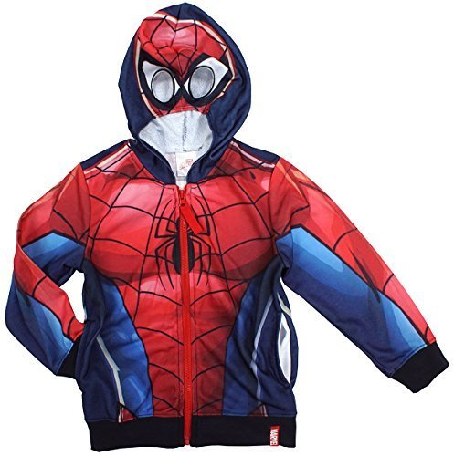 vel NEUHEIT Maske Kapuze Reißverschluss Kapuzenpulli Sweatshirt Größen von 3 bis 8 Jahre - Mehrfarbig, 6 Years (Kind Spiderman Kostüme)
