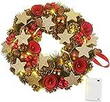 Britesta Türkranz: Weihnachtskranz, 20 warmweiße LEDs, Timer, batteriebetrieben, 28 cm (Weihnachtentürdeko)