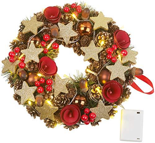 Britesta Türkranz: Weihnachtskranz, 20 warmweiße LEDs, Timer, batteriebetrieben, 28 cm (Dekokränze)
