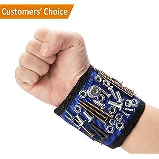 Magnetische Armbänder,Rixow Magnetarmband mit 10 Leistungsstarken Magneten,90-350mm für Holding Werkzeuge, Schrauben, Nägel, Schrauben, Dübel, Bohrungen und kleine Werkzeuge und Schrauben Tasche,Blau