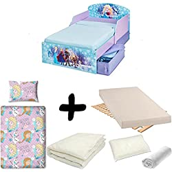 Bebegavroche Pack Completo Cama cajones Elsa y Anna Frozen Disney = Cama + colchón &–Juego + edredón + Almohada