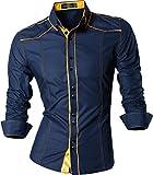Jeansian Herren Freizeit Hemden Shirt Tops Mode Langarmlig Men's Casual Dress Slim Fit 8397 (USA XXL, Z034_Navy)