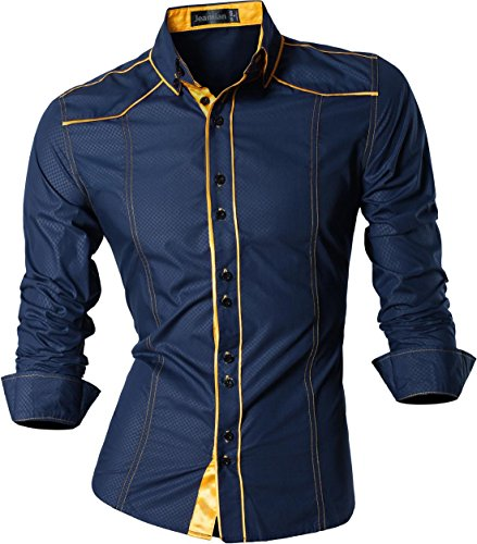 Superman Black Kostüm - jeansian Herren Freizeit Hemden Shirt Tops Mode Langarmlig Men's Casual Dress Slim Fit (USA L, Z034_Navy)