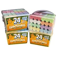 Kids B Crafty 4 x 24 Giant Bright Coloured Chalks Chunky Pavement Washable Fun For Children 8 Super Vibrant Colours - Outdoor - Garden School Drawing Games - Artists Imagination - Toddler - Chalkbard