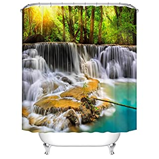 Qilerongrong Shower Curtain 3D Landscape Waterfall Printing Waterproof Moldproof Bathroom Curtain 72x79 Inch (180 x 200 cm) with 12 C-type Hooks