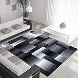 Ayyildiz Teppich Modern Designer Rechteck Schwarz Grau Verschiedene Größen 80x150 cm Handgetufted 100% PP Heatset Fußbodenheizung