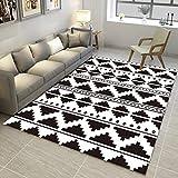 DAMENGXIANG Einfache Schwarz Weiß Geometrie Abstrakt Teppich Wohnzimmer Couchtisch Schlafzimmer Rutschfeste Bodenmatte Wohnkultur Fuß Pad 70 × 180 cm
