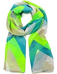 DonDon® Damen Schal mit Chevron Zick Zack Muster Neon weich und groß