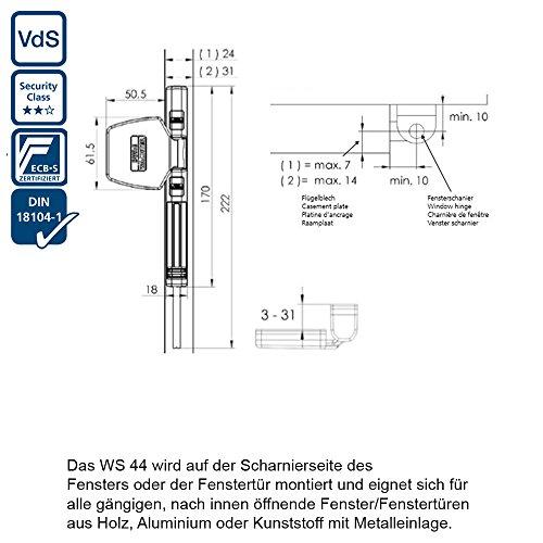 BURG-WÄCHTER Fenstersicherung für die Scharnierseite, Für Fenster aus Kunststoff, Holz oder Aluminium, WinSafe WS 44 W SB - 5