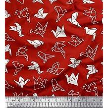 Soimoi Rojo crepe poli Tela pájaro de papel artistico tela estampada impresa por metro 52 Pulgadas