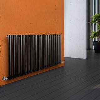 Milano Hudson Reed Heizkörper Revive - Horizontaler Design-Heizkörper aus Stahl in Schwarz (RAL 9005) - 635 x 1180 mm