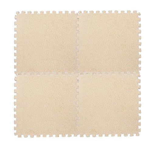 Fulltime Kinder Teppich Schaum Puzzle Matte Eva Shaggy Samt Baby Eco Boden 7 Farben, 30 * 30 cm (Beige) -