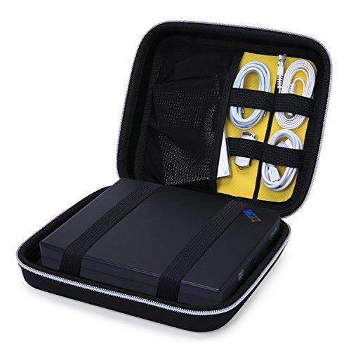 BAGSMART Stoßfeste Hartschale Schutzhülle für Externes DVD Laufwerk, Große Festplattetasche Schwarz (2t Portable Hard Drive)