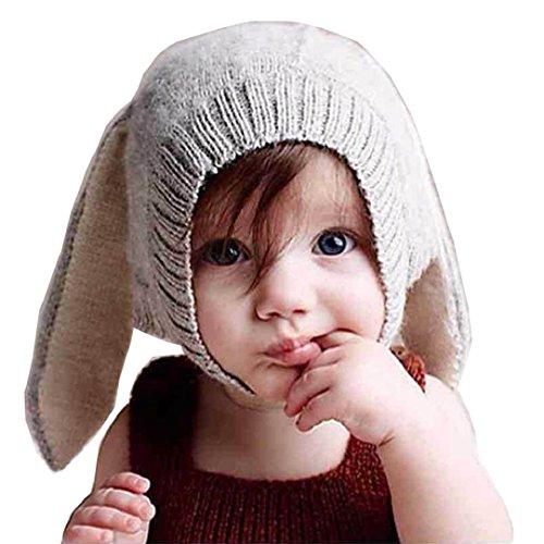 Tuopuda® Gorras Invierno Bebe Niño Niña Sombrero Orejas de Conejo Gorro de  Punto (Gris ed85d0fe963