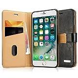 Labato Handytasche iPhone 7 Schutzhülle aus Echt Leder Bookstyle Tasche für i Phone 7 Zubehör schwarze Case Lbt-IP7-01Z10