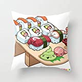 Kawaii California Roll and Sushi Shrimp and Tuna N Hellip Throw Pillow Cover Cushion Case 1818 Inch