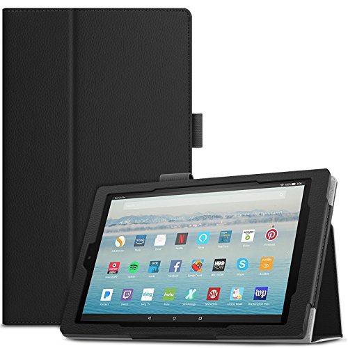 Hülle für Das neue Fire HD 10 Tablet (7th Gen.- 2017 Modell), Infiland Slim Smart Folio dünne Kunstleder Schutzhülle mit Auto Schlaf / Wach Cover Tasche für Das neue Fire HD 10 2017 Tablet mit Alexa Hands-free(Schwarz) (Tasche Alexa)