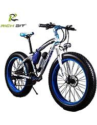 Rich Bit® rt-012 bicicleta eléctrica para bicicleta Cruiser bicicleta Ciclismo 350 W * 36 V 10 Ah Alemania BMZ recargable 21speed 7 marchas horquilla de suspensión doble freno de disco mecánico 4.0 Fat tire nieve bicicleta marchas Shimano larga duración nueva moda pintura azul