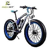 Rich Bit® RT-012 Vélos électriques Assistance Cruiser Vélo 350 W * 36 V 10.4 Ah 26''*4.0 Fat eBike 21 Vitesse BMZ Batterie Bleu