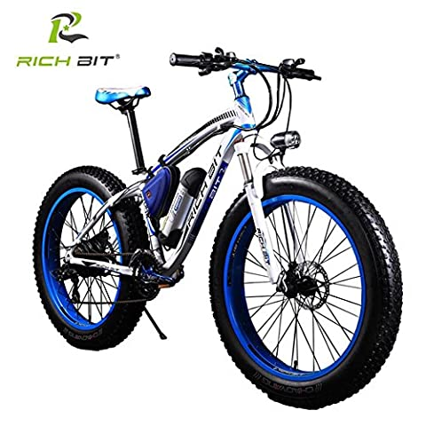 Rich Bit®RT-012 Electric Bike eBike Cruiser Bicycle Cycling 350W*36V 10Ah Germany BMZ Battery 21Speed 7 Gears Suspension Fork Double Mechanical Disc Brake 4.0 Fat Tire Snow Bike Shimano Derailleur Long Duration New fashion Painting Blue