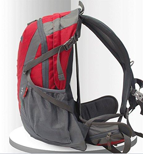 wnnideo 35L interne Rahmen Rucksack Wasserdicht Wandern Rucksack Wanderrucksack Trekking Tasche für Klettern, Camping Wandern, Bergsteigen, Reisen und (pn-09789) Rot