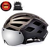 KING BIKE Fahrradhelm,mit Abnehmbarem UV400 Schutz,Abnehmbaren Schutzbrille Schild Visier,26 Belüftungsöffnungen,kann über die Brille,M/L/XL (XL:59-63CM, Titanium)