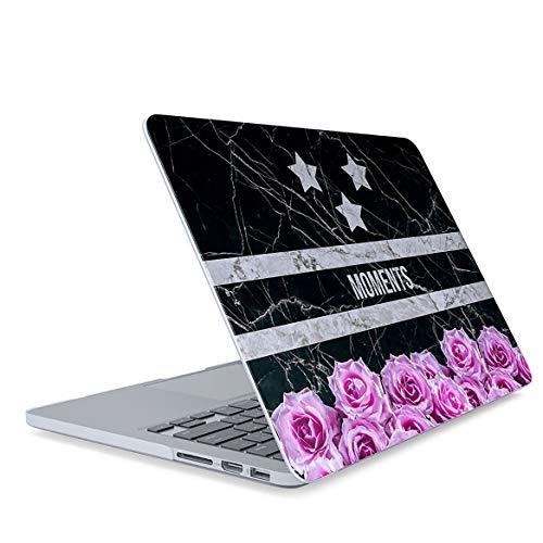 Hülle für MacBook Pro 13 Zoll Dünne Hardcase aus Kunststoff Modell: A1706 A1708 A1989 (Baujahr: 2016-2018) Schwarz Marmor Rosa Rosen Blume Blumen Blüte Zitat Citation Marble Pattern Flower Blossom Apple Blossom Pattern