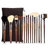 zoreya | 15New Pinsel Luxus Bürsten Make-up kosmetische Kit Profi | Synthetische Borsten Premium Qualität | Cosmetic Makeup Brush Set 15pcs | Aufbewahrungstasche Leder Design | Puder und Make-Up für Gesicht und Augen | Idee Geschenk