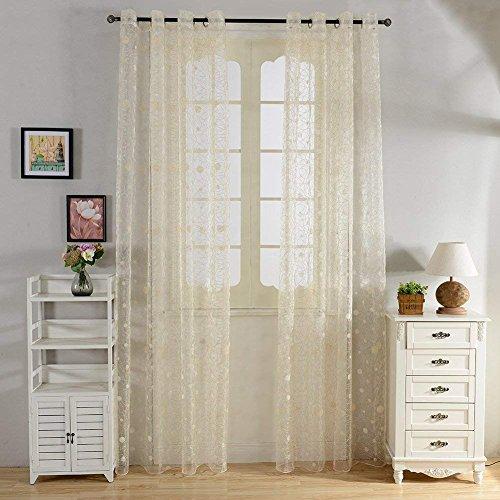 Top finel ricamate a pois voile per tende moderne camera da letto,195 x 245 cm, 1 pezzo, giallo