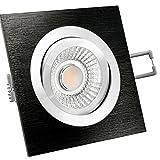LED Decken Einbauleuchte Strahler inkl. 6W LED Modul RA 90 eckig schwenkbar flach schwarz gebürstet dimmbar LED Deckenleuchte Spot Einbauleuchte Deckenstrahler für 230V ohne Trafo warmweiß 2700K