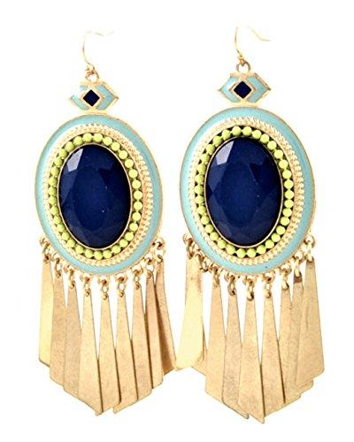 Boho Native lunga orecchini smaltato Aqua blu perline in acrilico colore: blu reale colore verde menta blu 8,5cm
