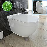 Hänge-WC (Tiefspüler) aus Sanitärkeramik mit Duroplast-WC-Sitz inkl. Soft-Close-Funktion und Nano-Beschichtung passend zu GEBERIT