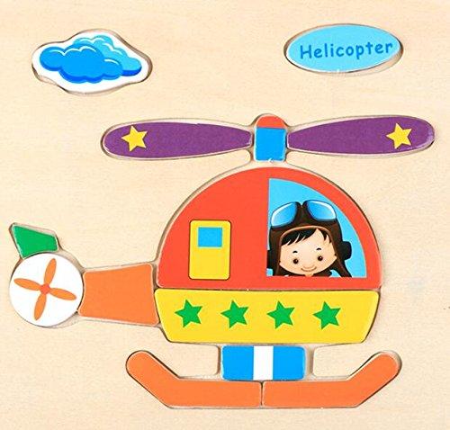 Upstudio Pädagogisches kreatives Holzspielzeug Reizender hölzerner Preschool-Hubschrauber-kognitiver Vorstand für Kinderpuzzlespiel