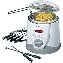 Bomann FFR 1290 CB - Freidora y fondue, capacidad 1 l, 6 tenedores de fondue, 900 W, color blanco y gris
