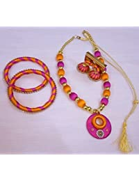 Pink And Orange Jewellery Set (Necklace, Earrings And Bangles Set)