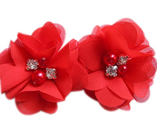 20 Chiffon-Blumen, die 5,1 cm groß sind, mit Strass und Perlen, für Bastelarbeiten von Yycraft, Chiffon, rot, 2