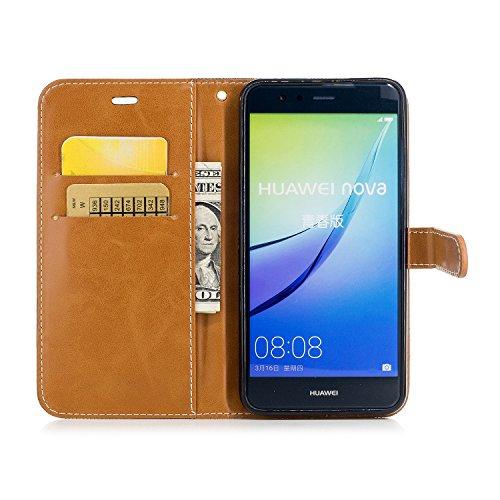 Custodia per Huawei P10 Lite, ISAKEN Flip Cover per Huawei P10 Lite con Strap, Elegante Bookstyle PU Pelle Case Cover Protettiva Flip Portafoglio Custodia Protezione Caso con Supporto di Stand / Carte Marrone+nero