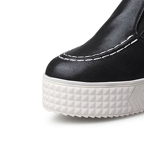 AgooLar Damen Ziehen Auf Rund Zehe Hoher Absatz Rein Pumps Schuhe Schwarz