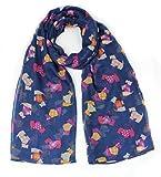 Ladies Multi Scottie Dog tartan Jacket Print Fashion Scarf Neck Wrap by Joy To Wear (Blue)